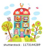 Stock vector animal in the house illustration 1173144289