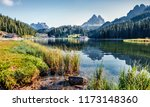 sunny summer view of misurina... | Shutterstock . vector #1173148360