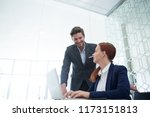 business executives interacting ... | Shutterstock . vector #1173151813