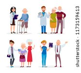 happy healthy senior people and ... | Shutterstock .eps vector #1173159613