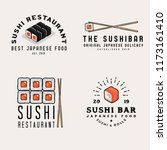 japanese food icons  logos ... | Shutterstock .eps vector #1173161410