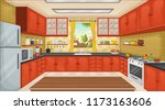 colorful kitchen with utensils. ... | Shutterstock .eps vector #1173163606