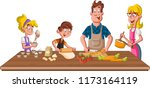 family wearing apron and... | Shutterstock .eps vector #1173164119
