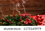 advent wreath with four blown... | Shutterstock . vector #1173165979
