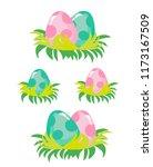 cute flat style dinosaur eggs... | Shutterstock .eps vector #1173167509