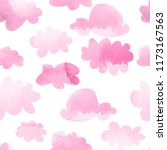 watercolor pink clouds seamless ... | Shutterstock .eps vector #1173167563