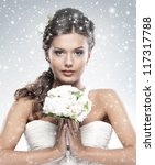 young attractive bride with the ...   Shutterstock . vector #117317788