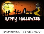 halloween pumpkins and bat ... | Shutterstock .eps vector #1173187579