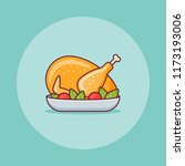 roasted turkey or chicken flat... | Shutterstock .eps vector #1173193006