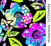 seamless summer tropical... | Shutterstock . vector #1173196456