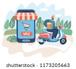 express delivery man. deliver... | Shutterstock .eps vector #1173205663