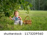 a small boy is playing and... | Shutterstock . vector #1173209560