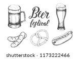 oktoberfest set with hand drawn ... | Shutterstock . vector #1173222466