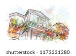building view with landmark of... | Shutterstock .eps vector #1173231280