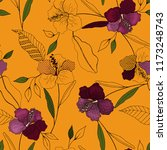 tropical vector seamless flower ... | Shutterstock .eps vector #1173248743