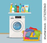 laundry room with washing... | Shutterstock .eps vector #1173250363