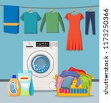 laundry room service. washing...   Shutterstock .eps vector #1173250366