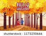 hello autumn  autumn alley ... | Shutterstock .eps vector #1173250666