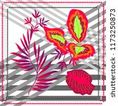 stripped print with tropical...   Shutterstock .eps vector #1173250873