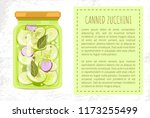 canned zucchini poster with... | Shutterstock .eps vector #1173255499
