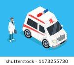 medical worker run to ambulance ... | Shutterstock .eps vector #1173255730