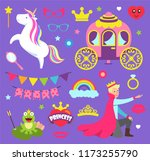 princess party with unicorn ... | Shutterstock .eps vector #1173255790