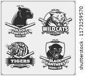 set of baseball emblems  badges ... | Shutterstock .eps vector #1173259570