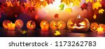 autumn background with... | Shutterstock . vector #1173262783