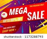mega sale banner red shopping... | Shutterstock .eps vector #1173288793