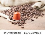 in the foreground a coffee... | Shutterstock . vector #1173289816