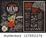 pizza restaurant menu on... | Shutterstock .eps vector #1173311176