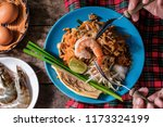 selective focus boiled shrimp... | Shutterstock . vector #1173324199