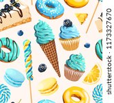 seamless pattern with blue and... | Shutterstock .eps vector #1173327670
