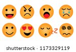 set of emoticons yellow faces... | Shutterstock .eps vector #1173329119
