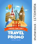 travel agency promo banner with ... | Shutterstock .eps vector #1173345856