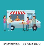 food truck and customers | Shutterstock .eps vector #1173351070