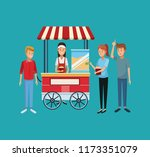 popcorn stand and people | Shutterstock .eps vector #1173351079