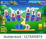 solitaire gameplay screen with... | Shutterstock .eps vector #1173355873