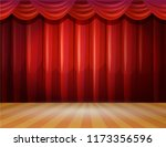 red stage curtain realistic... | Shutterstock .eps vector #1173356596