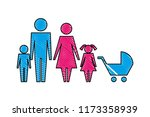 family silhouette and baby cart ... | Shutterstock .eps vector #1173358939