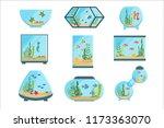 aquarium tanks set  different... | Shutterstock .eps vector #1173363070