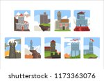 ancient castles and fortresses...   Shutterstock .eps vector #1173363076