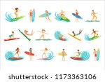 surfboarders riding on waves... | Shutterstock .eps vector #1173363106