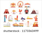 amusement park elements set ... | Shutterstock .eps vector #1173363499