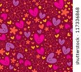 hearts & flowers pattern - stock photo