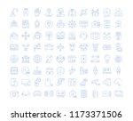 set vector line icons in flat... | Shutterstock .eps vector #1173371506