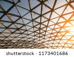 modern glass roof in sunset... | Shutterstock . vector #1173401686
