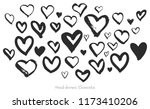 vector set of heart shapes made ... | Shutterstock .eps vector #1173410206