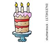cartoon doodle birthday cake | Shutterstock .eps vector #1173413743