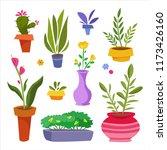 set of flowers in pots. vector...   Shutterstock .eps vector #1173426160